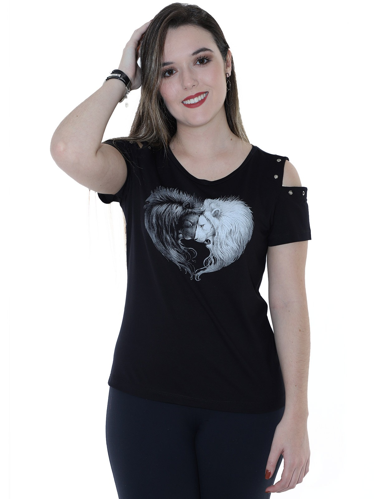 Blusa Feminina Longuete Ombro com Ilhois Anistia Preta