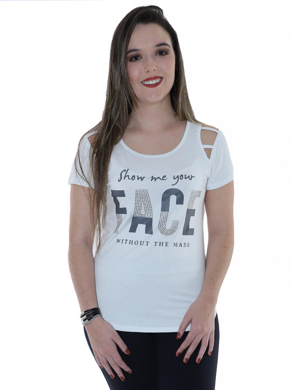 Blusa Feminina Longuete Ombro Diferenciado Anistia Branca
