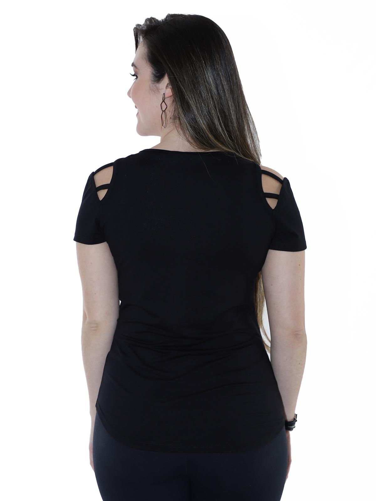 Blusa Feminina Longuete Ombro Diferenciado Anistia Preta