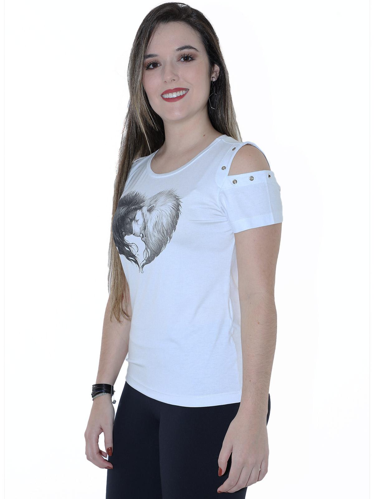 Blusa Feminina Longuete Viscolycra Manga Curta Ombro com Ilhós Branca