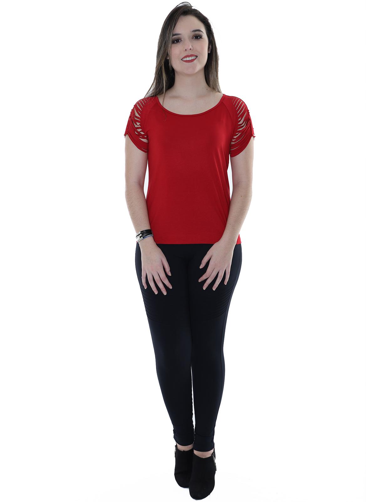 Blusa Feminina Manga Curta Super Confortável Corte a Fio Vermelha