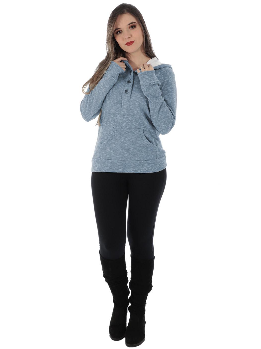 Blusa Feminina Moletom Flamê Com Capuz Forrado Anistia Azul