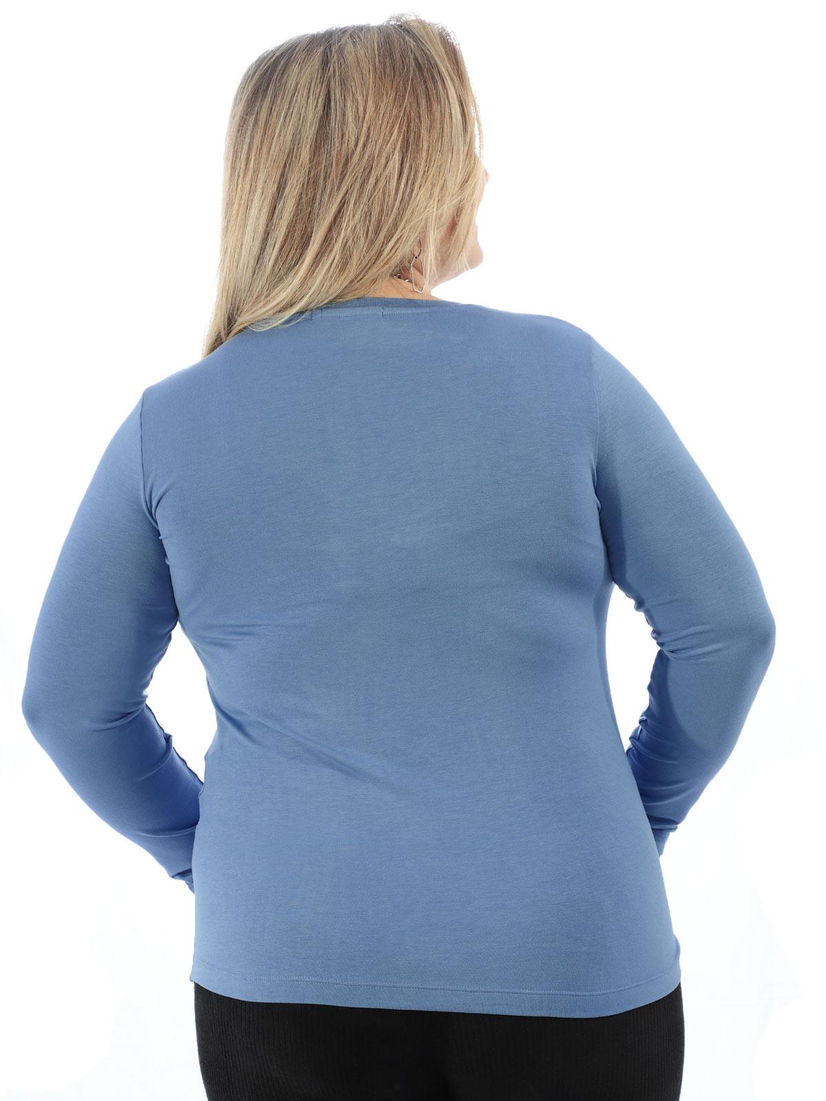 Blusa Feminina Plus Size Decote V. Manga Longa Azul