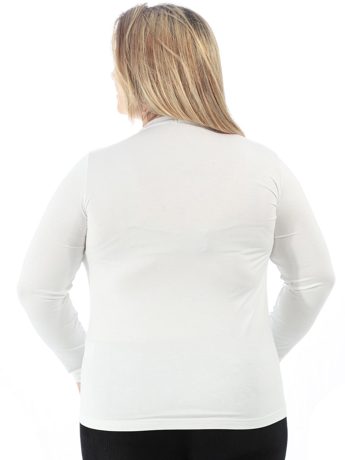 Blusa Feminina Plus Size Decote V. Manga Longa Branco