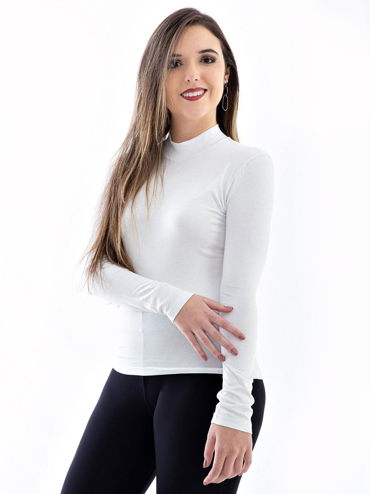 Blusa Gola Alta Feminina De Viscolycra Mangas Longas Branca