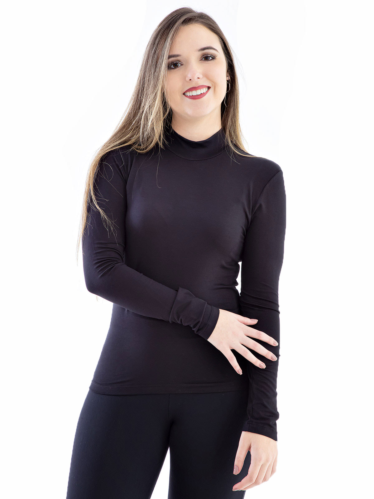 Blusa Gola Alta Feminina De Viscolycra Mangas Longas Preta