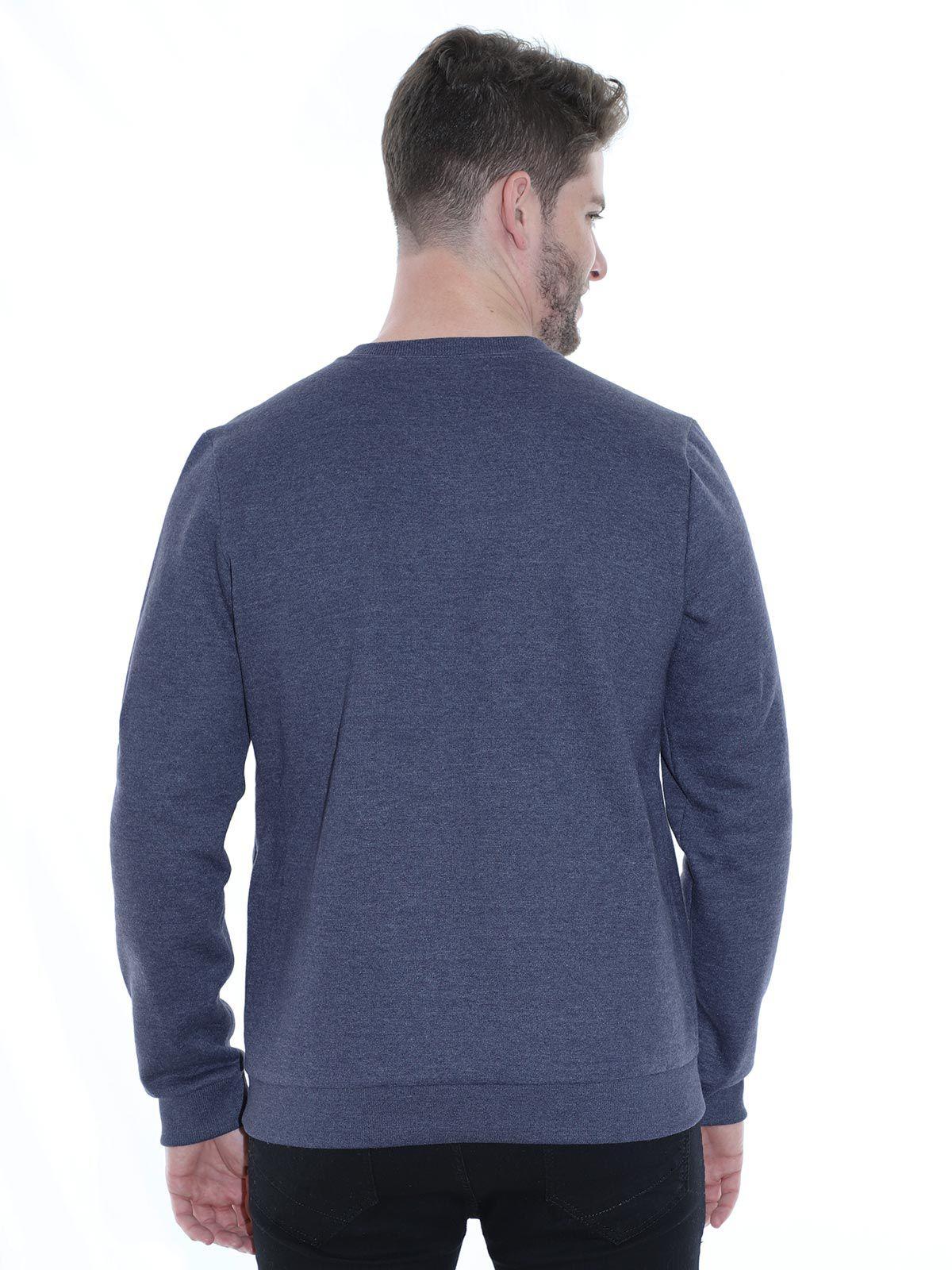 Blusa Gola Careca de Moletom Mescla Anistia Azul Marinho