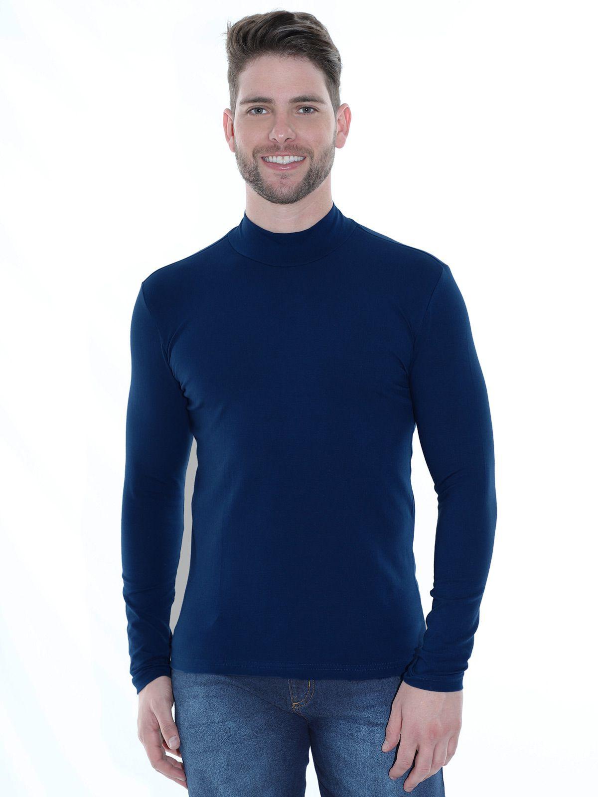 Blusa Masculina Anistia Gola Alta Slim com Elastano Azul Marinho