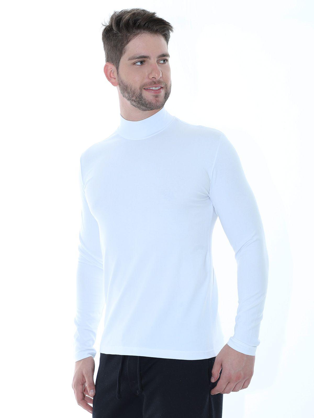 Blusa Masculina Anistia Gola Alta Slim com Elastano Branca
