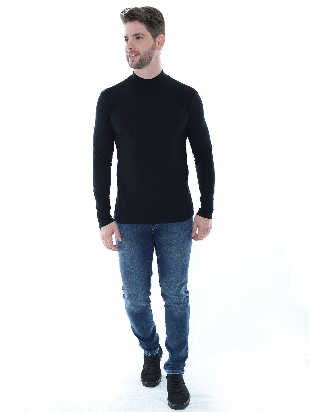 Blusa Masculina Anistia Gola Alta Slim com Elastano Preta