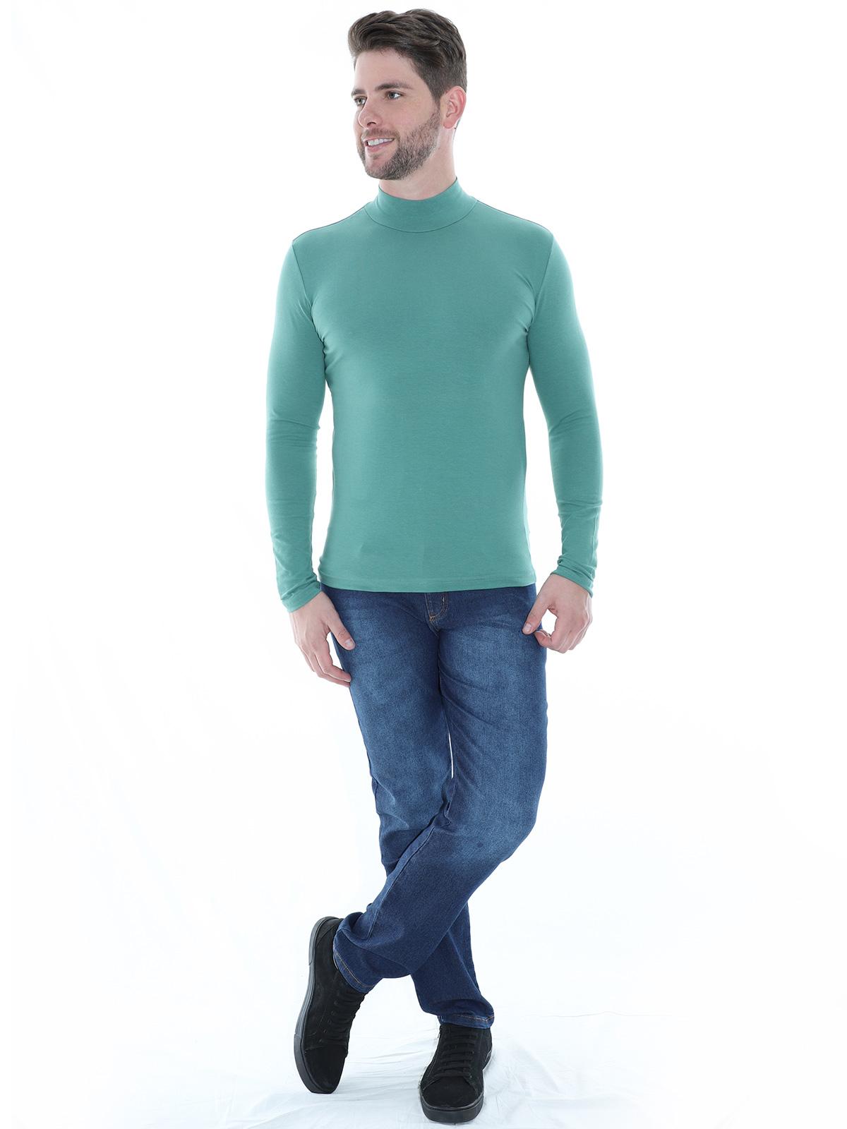 Blusa Masculina Anistia Gola Alta Slim com Elastano Verde