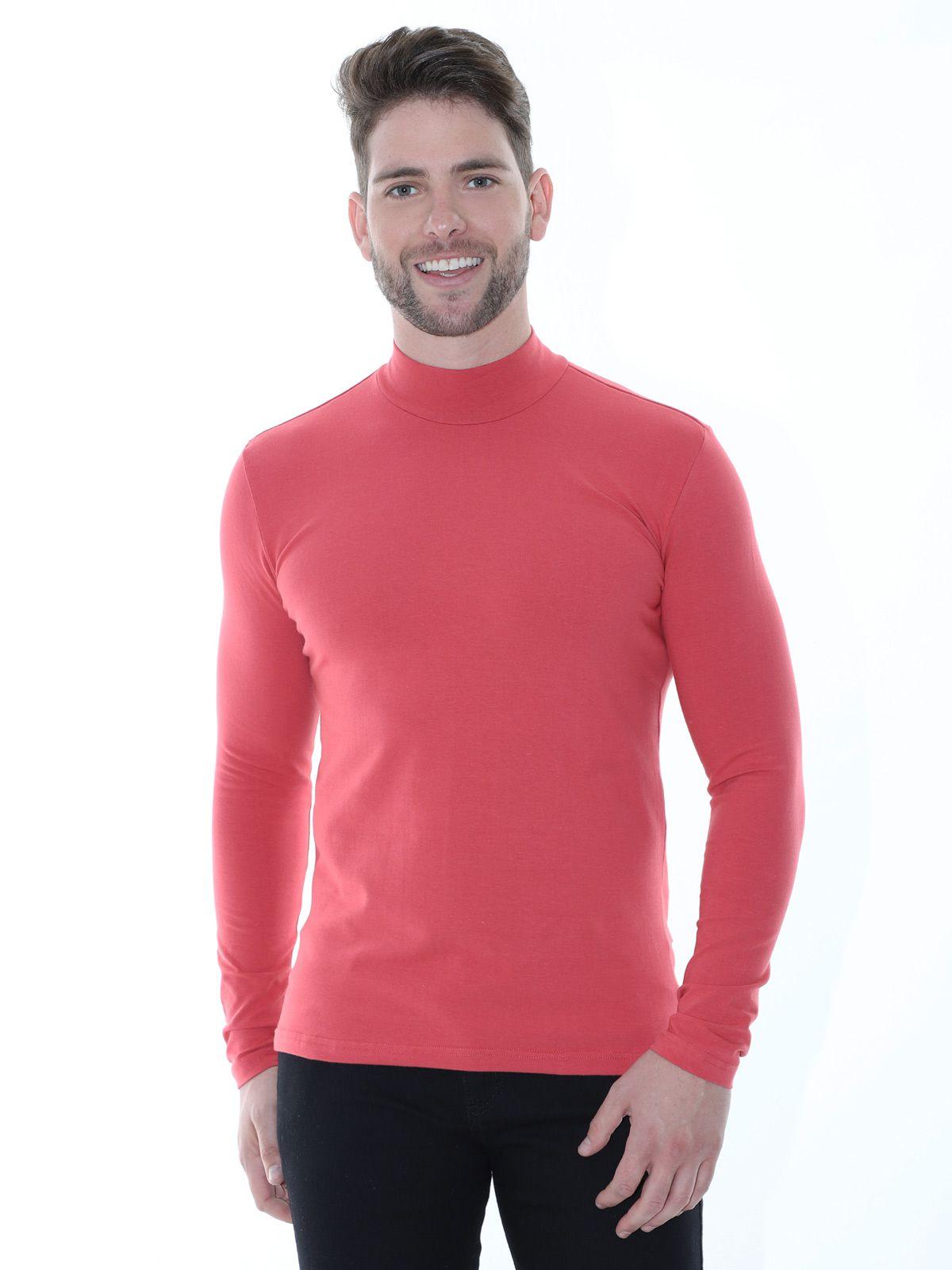 Blusa Masculina Anistia Gola Alta Slim com Elastano Vermelha