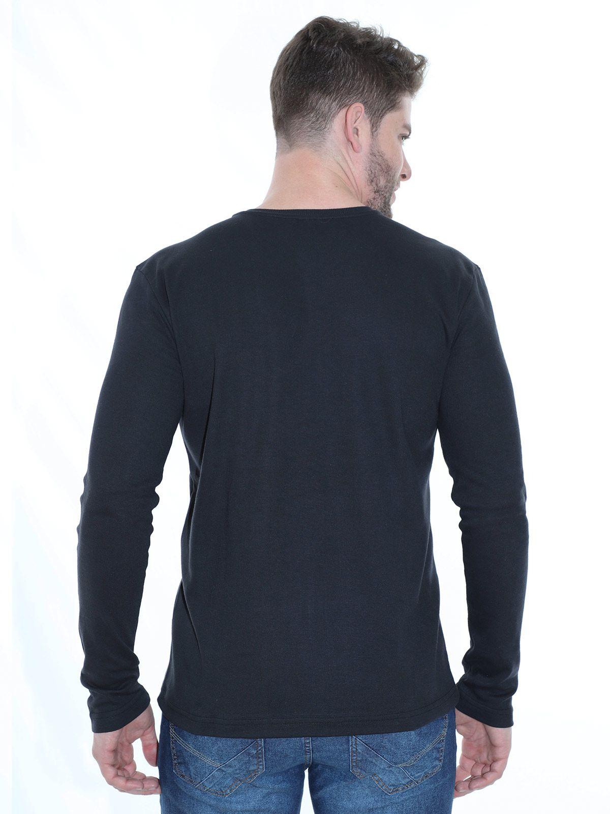 Blusa Masculina Anistia Manga Longa Decote V Estampada Preta