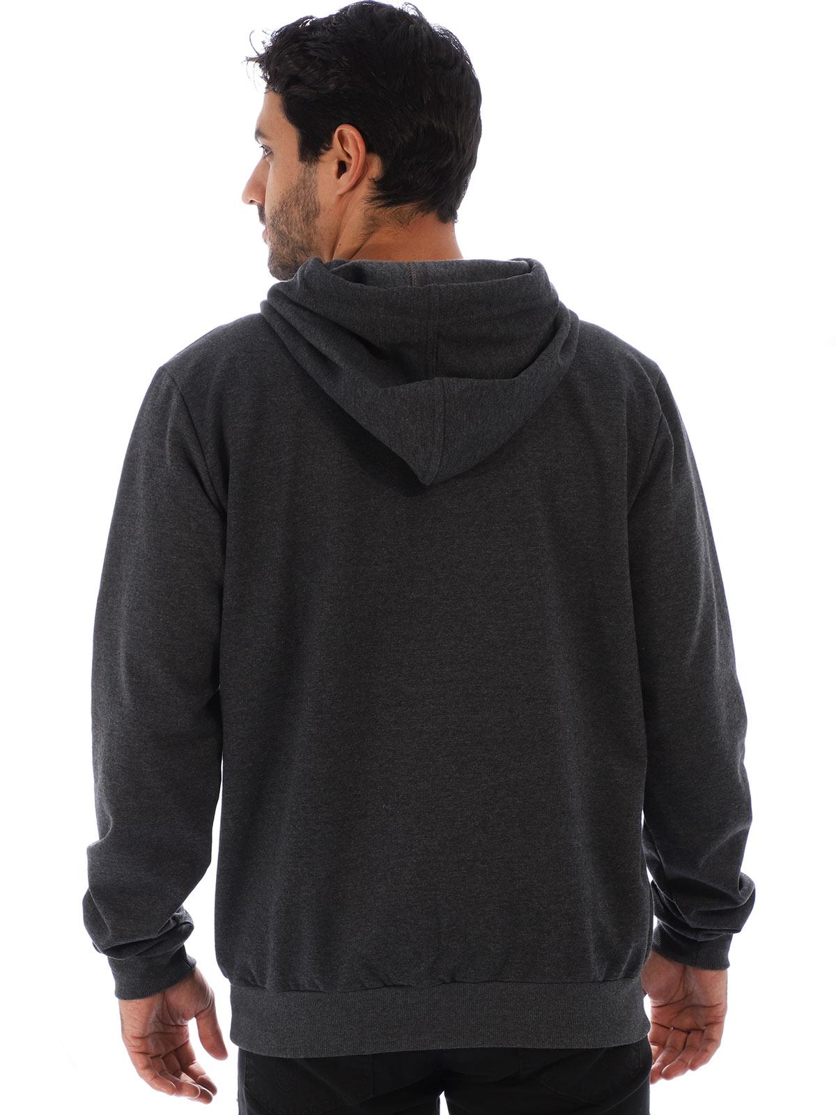 Blusa Masculina de Moletom Felpado Bordado Mescla Carvão