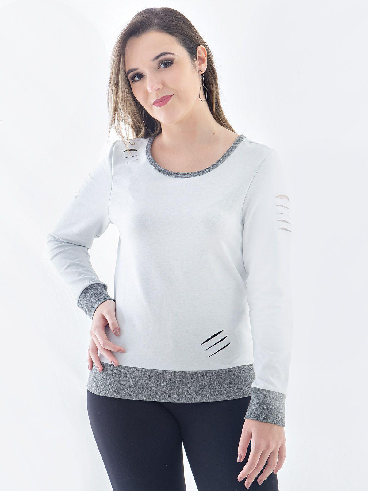 Blusa Moletom Feminina Corte A Laser Anistia Branca