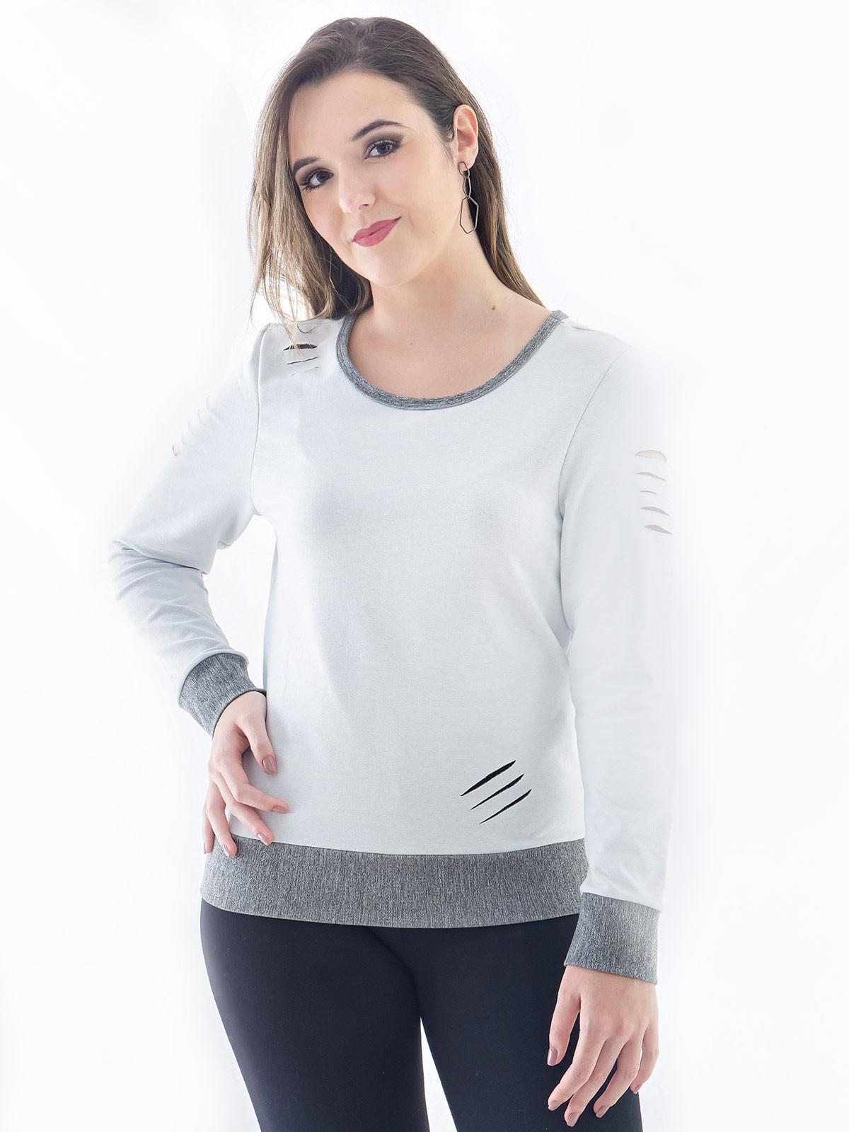Blusa Moletom Feminina Corte Laser Gola Careca Branca