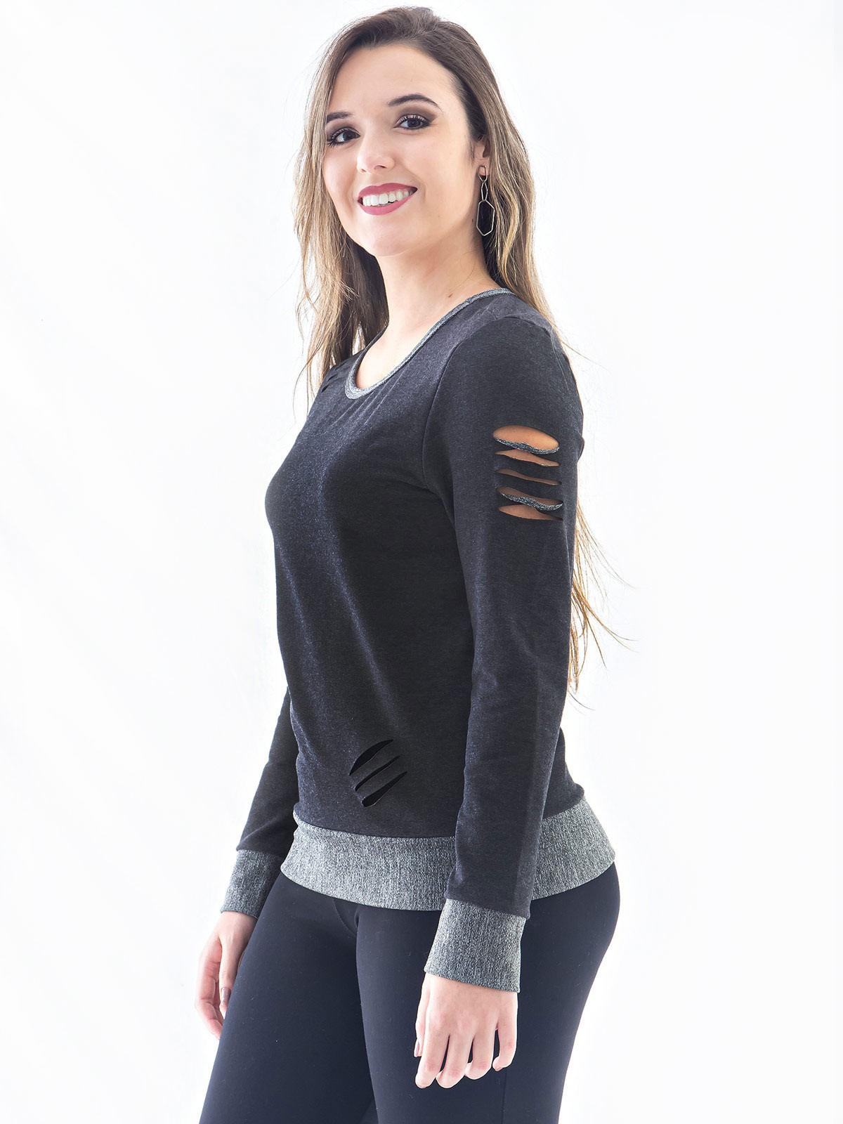 Blusa Moletom Feminina Corte Laser Gola Careca Preta