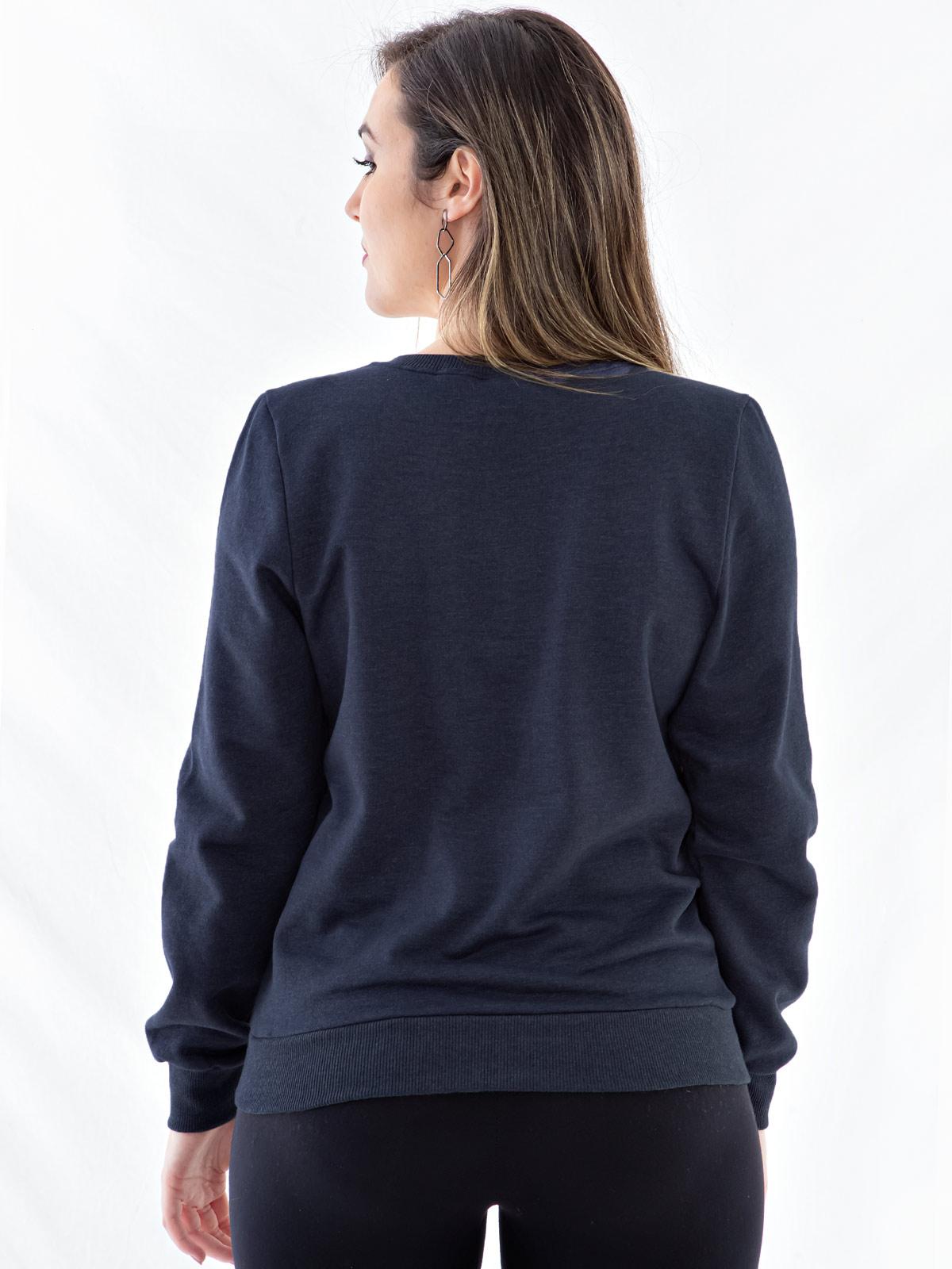 Blusa Moletom Feminino Bordada com Lantejoula Anistia Azul Marinho