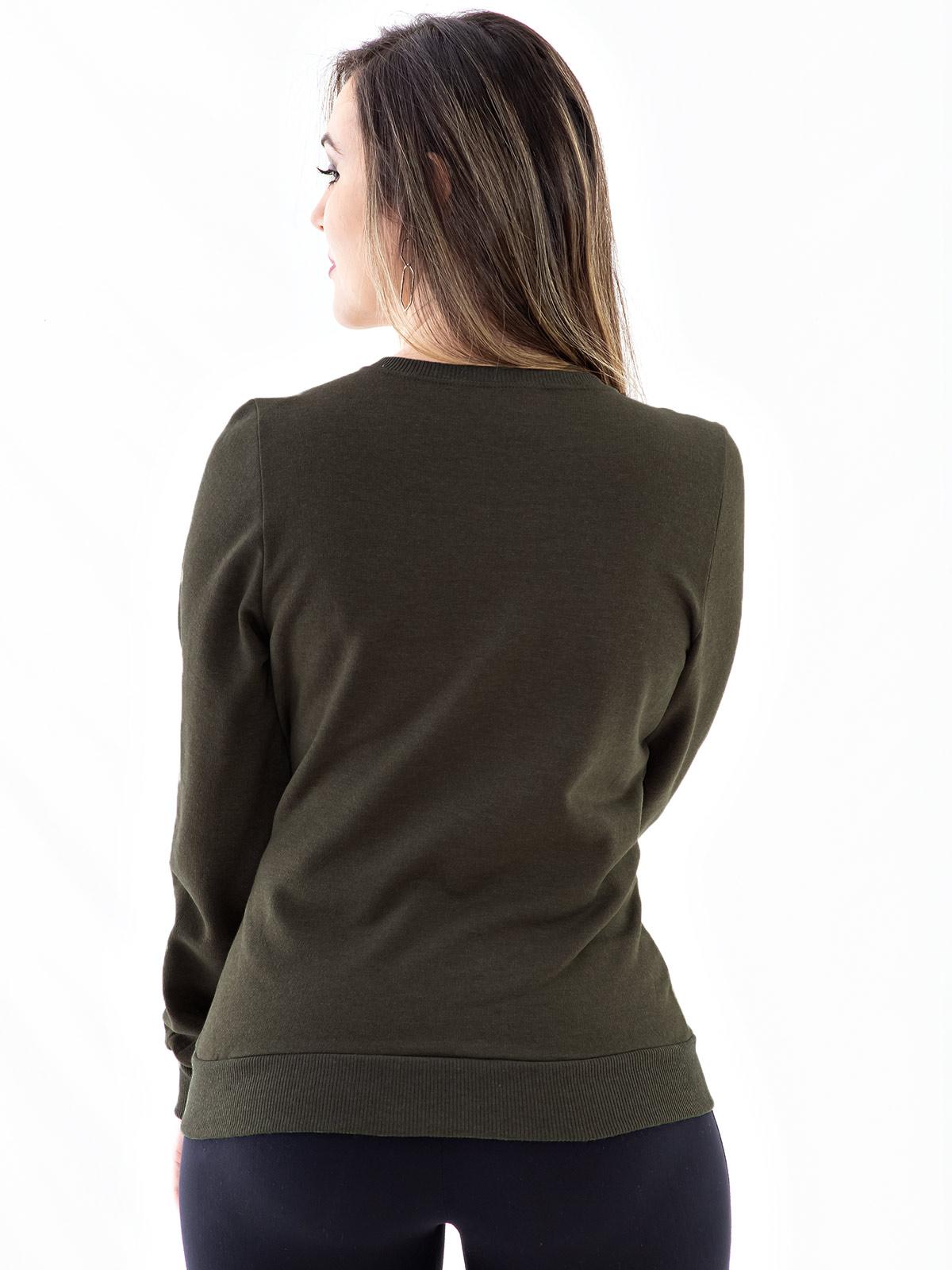 Blusa Moletom Feminino Bordada com Lantejoula Anistia Verde Militar