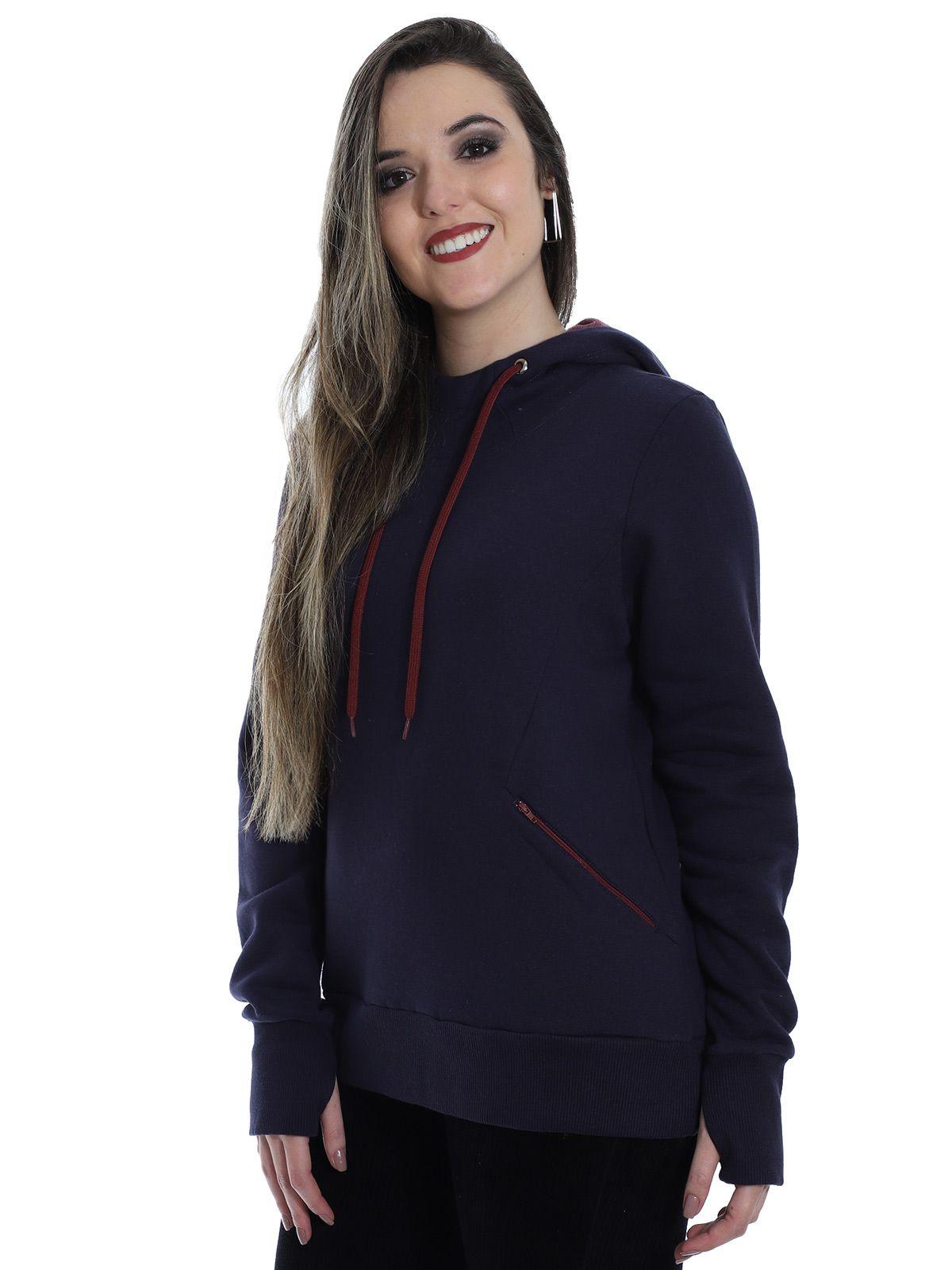 Blusa Moletom Feminino com Capuz e Ziper Anistia Azul Marinho