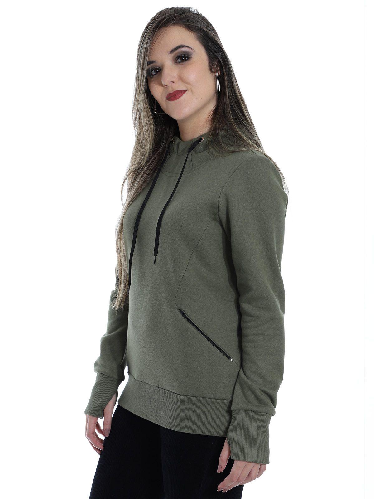 Blusa Moletom Feminino com Capuz e Ziper Anistia Verde Militar