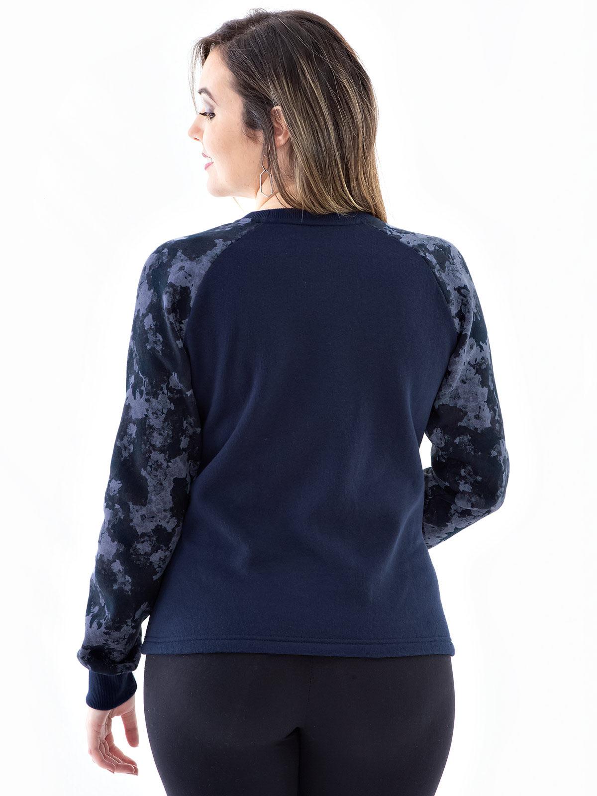 Blusa Moletom Feminino Com Mangas Camufladas Confort Azul Marinho