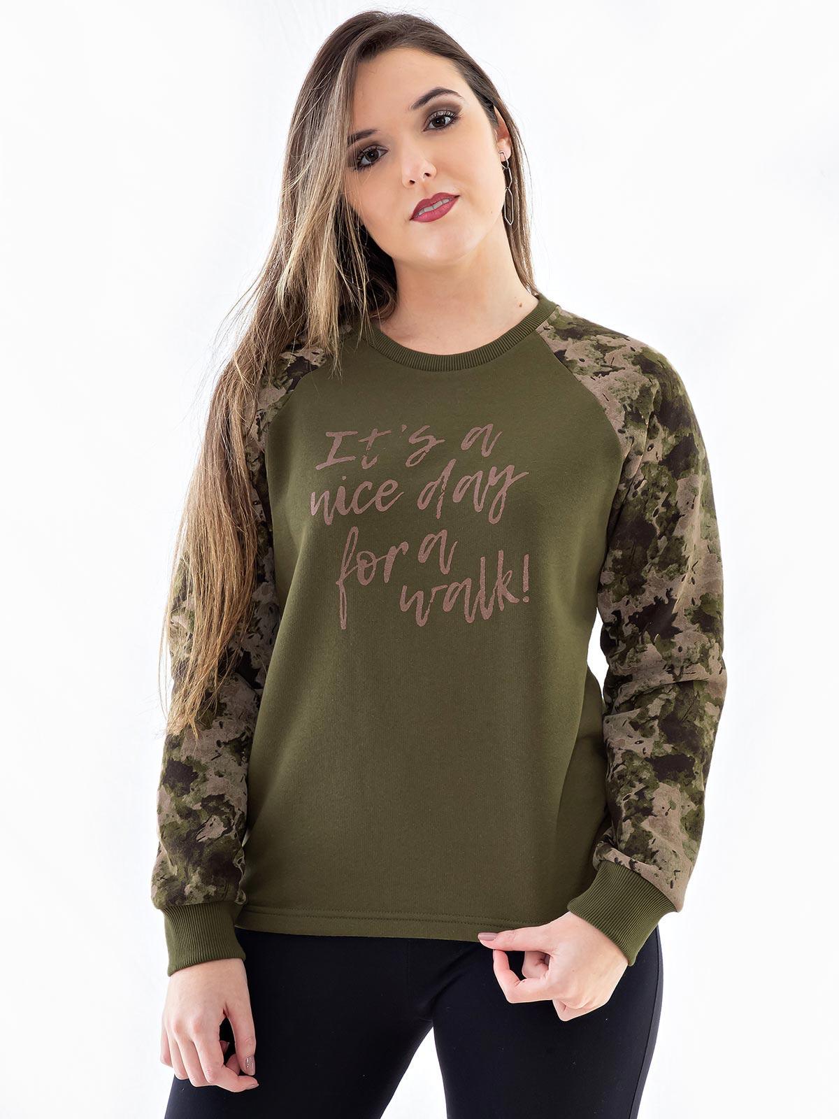 Blusa Moletom Feminino Com Mangas Camufladas Confort Verde Militar