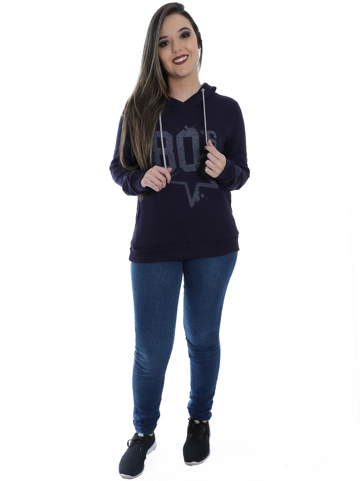 Blusa Moletom Feminino Estampa Com Capuz Confortável Azul Marinho