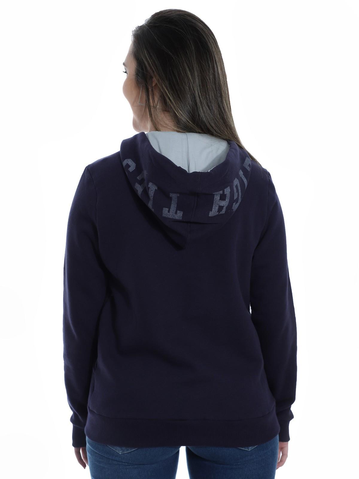 Blusa Moletom Feminino Estampa Com Touca Confortável Azul Marinho