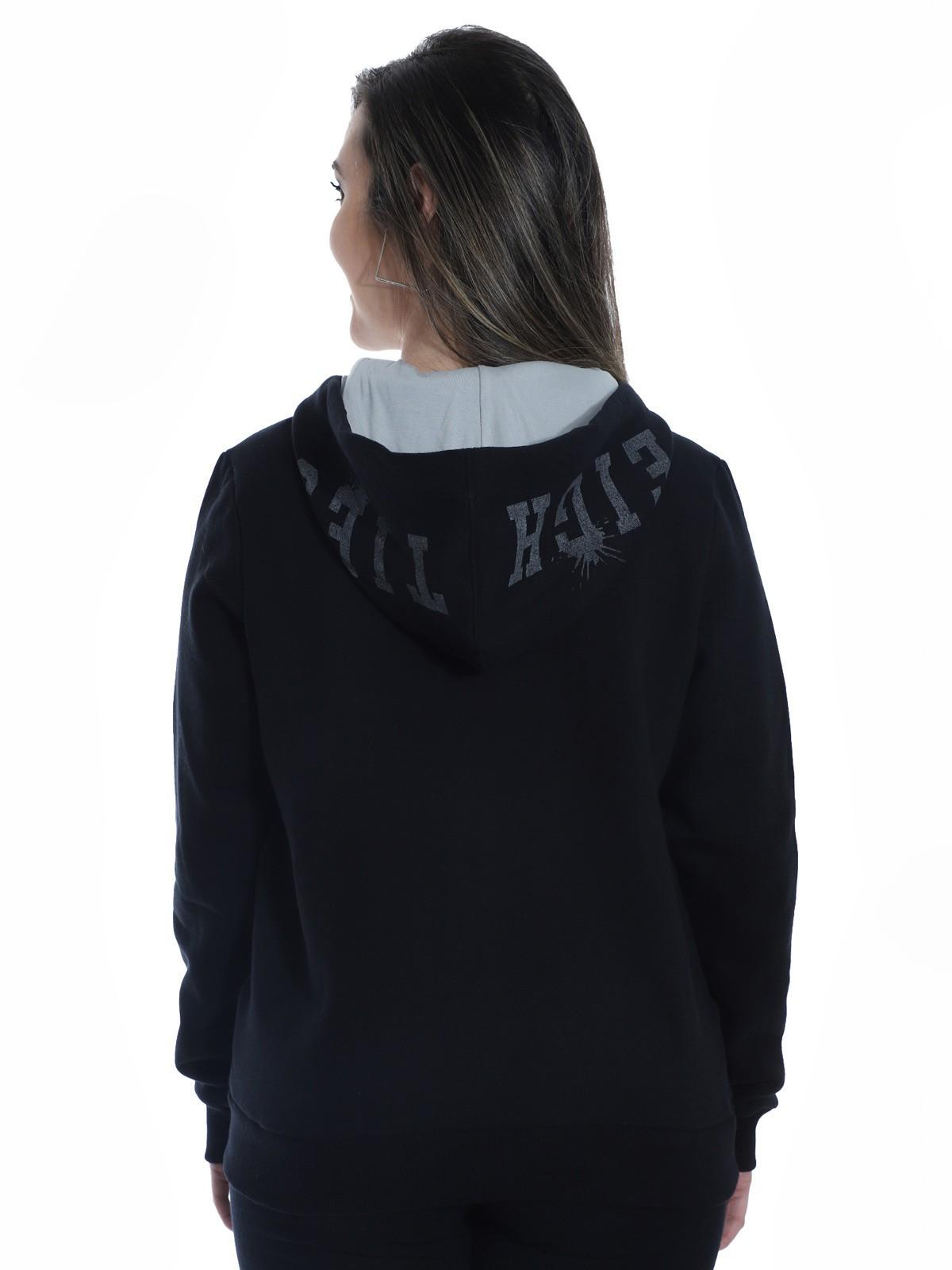 Blusa Moletom Feminino Estampa Com Touca Confortável Preta