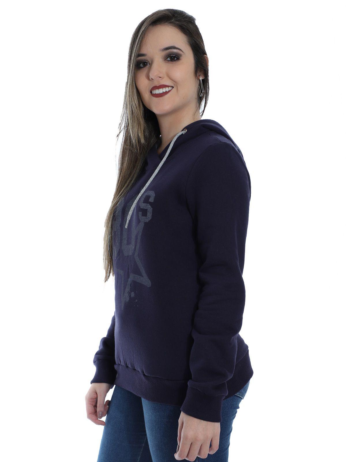 Blusa Moletom Feminino Estampada com Capuz Anistia Azul Marinho