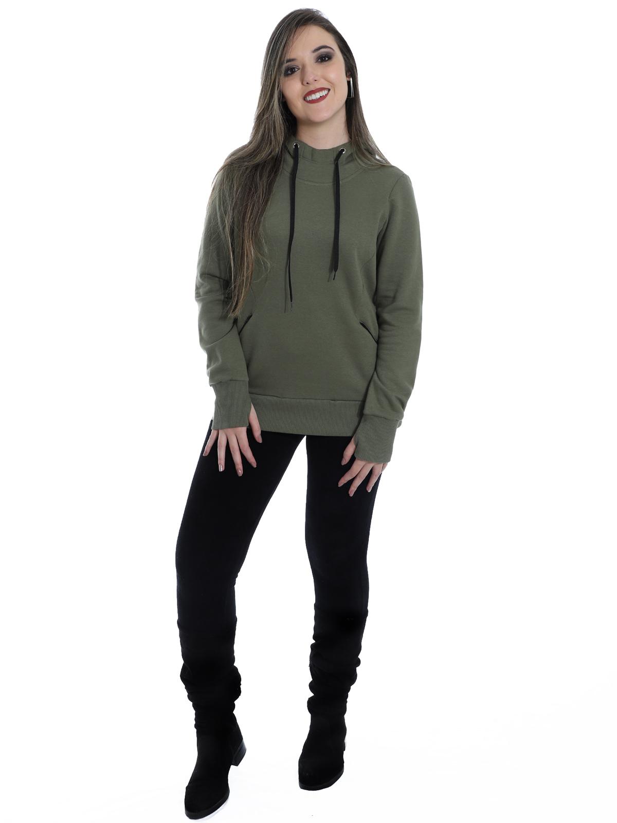 Blusa Moletom Feminino Estiloso Com Touca E Zíper Verde Militar