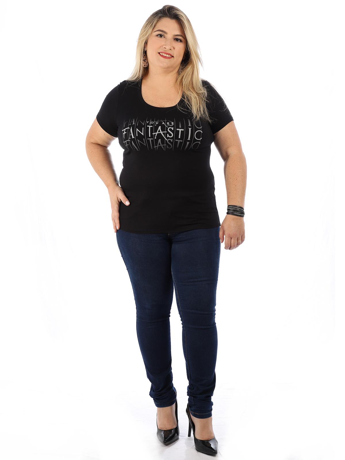 Blusa Plus Size Feminina Decote U Visco Com Estampa Preta