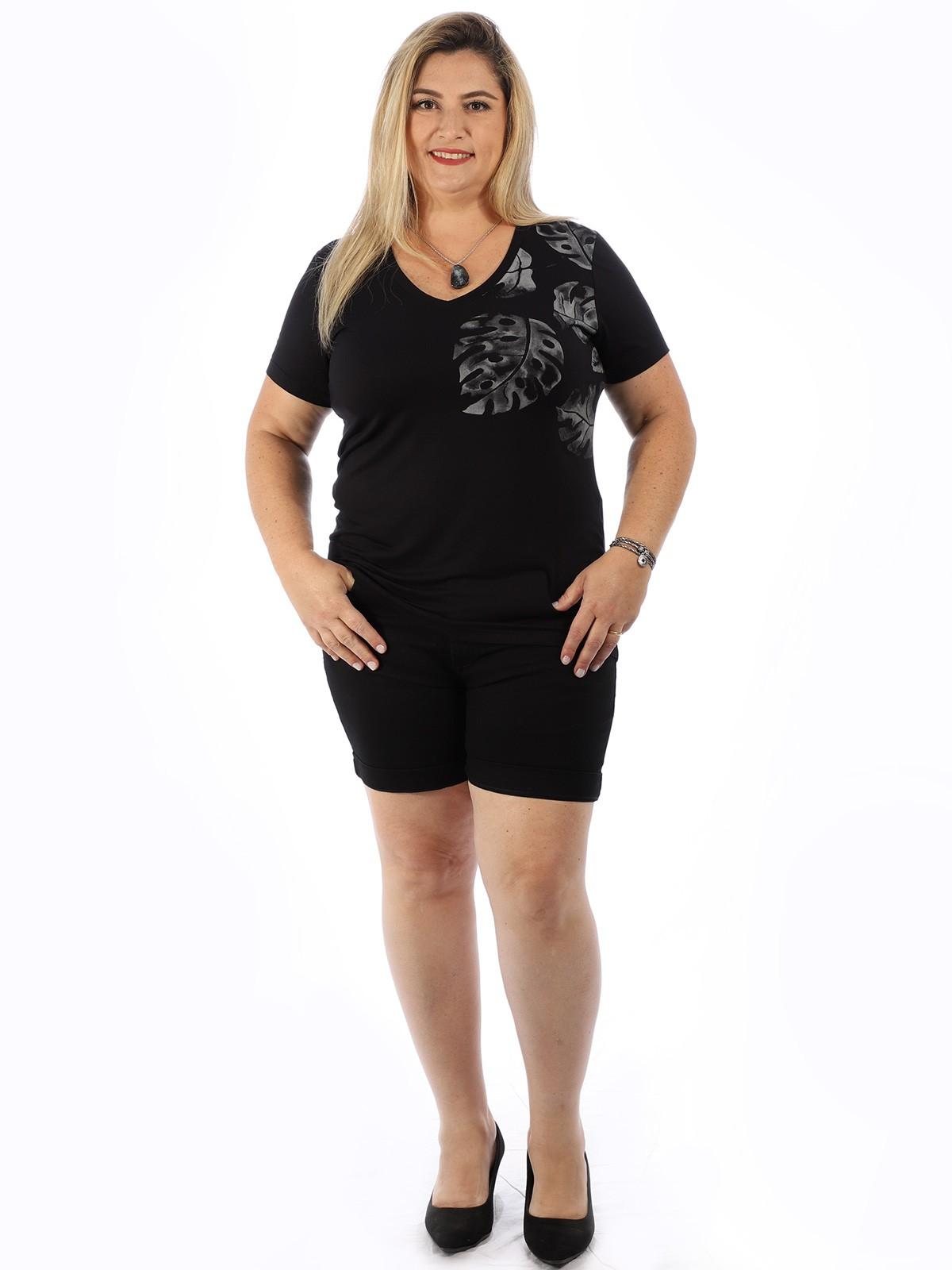 Blusa Plus Size Feminina Decote V. Viscolycra Folhas Preta