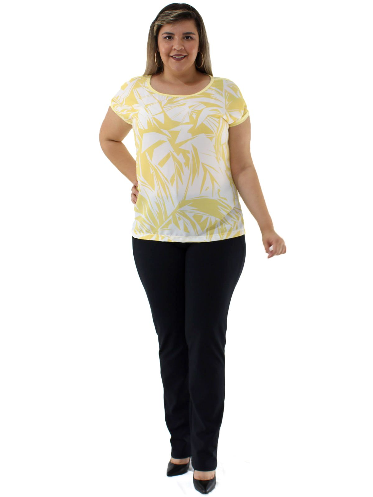 Blusa Plus Size Feminina Decote Redondo Estampada Amarelo