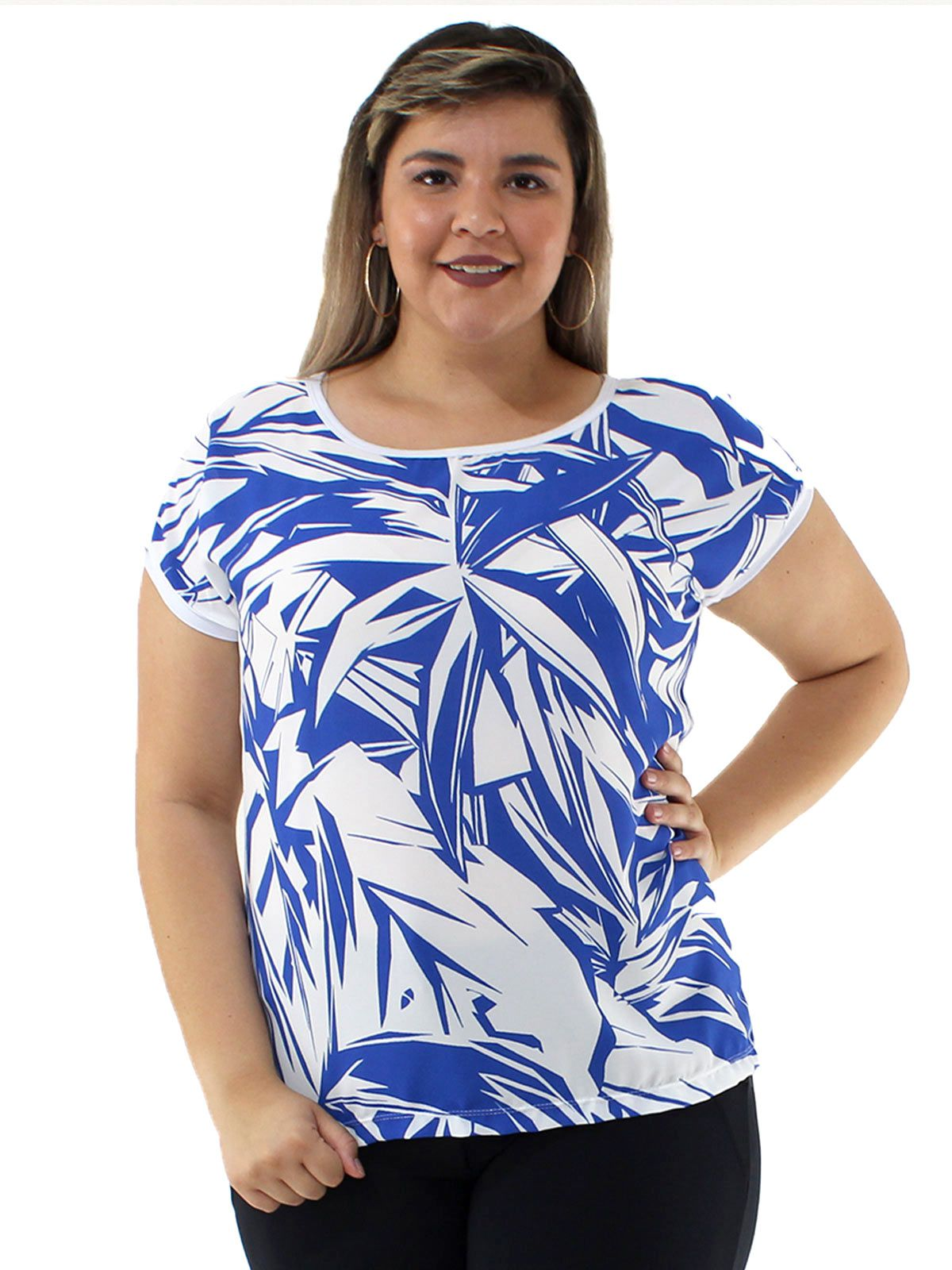 Blusa Plus Size Decote Aberto Estampada KTS Azul