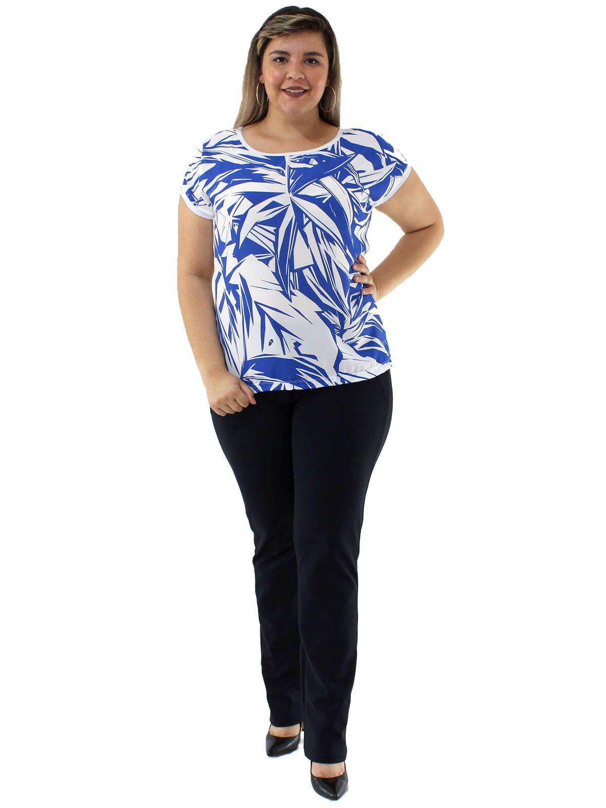 Blusa Plus Size Feminina Decote Redondo Estampada Azul
