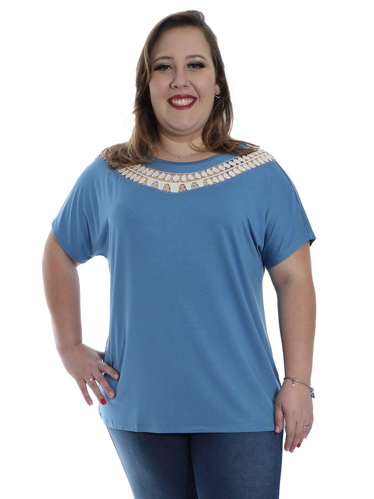 Blusa Plus Size Decote com Renda de Guipir KTS Azul