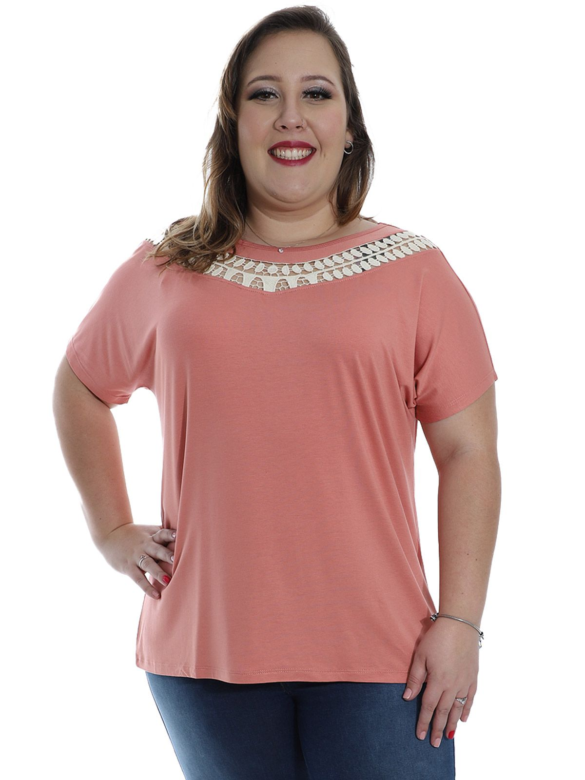 Blusa Plus Size Decote com Renda de Guipir KTS Rosa