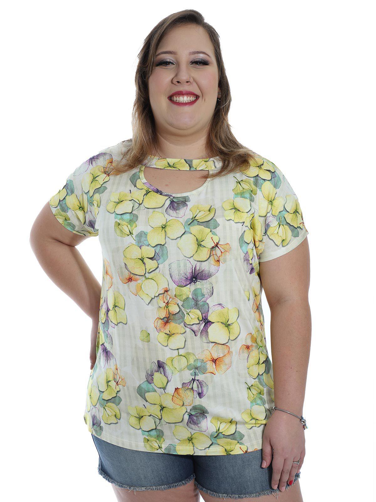 Blusa Plus Size Decote Diferenciado Floral KTS Amarelo