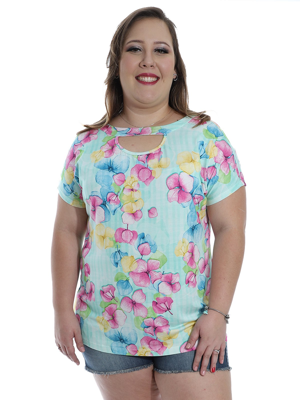 Blusa Plus Size Decote Diferenciado Floral KTS Verde