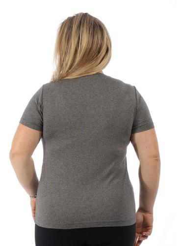 Blusa Plus Size Feminina Com Estampa Decote V. Mescla