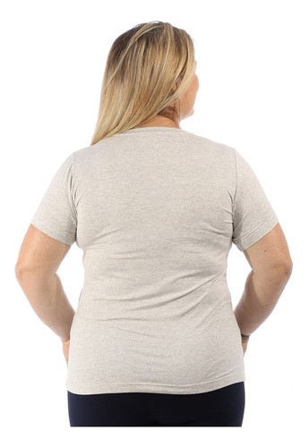 Blusa Plus Size Feminina Com Estampa Decote V. Mescla Claro