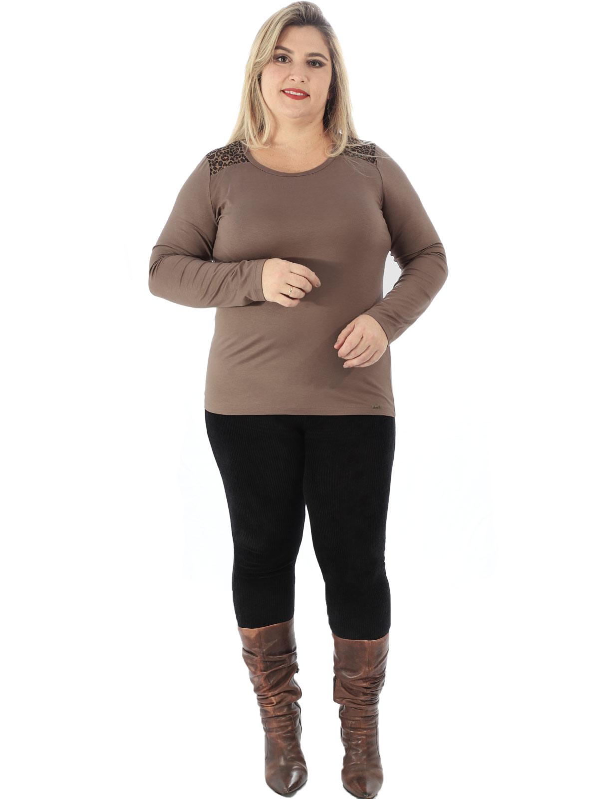 Blusa Plus Size Feminina Com Tule Estampado Anistia Terra