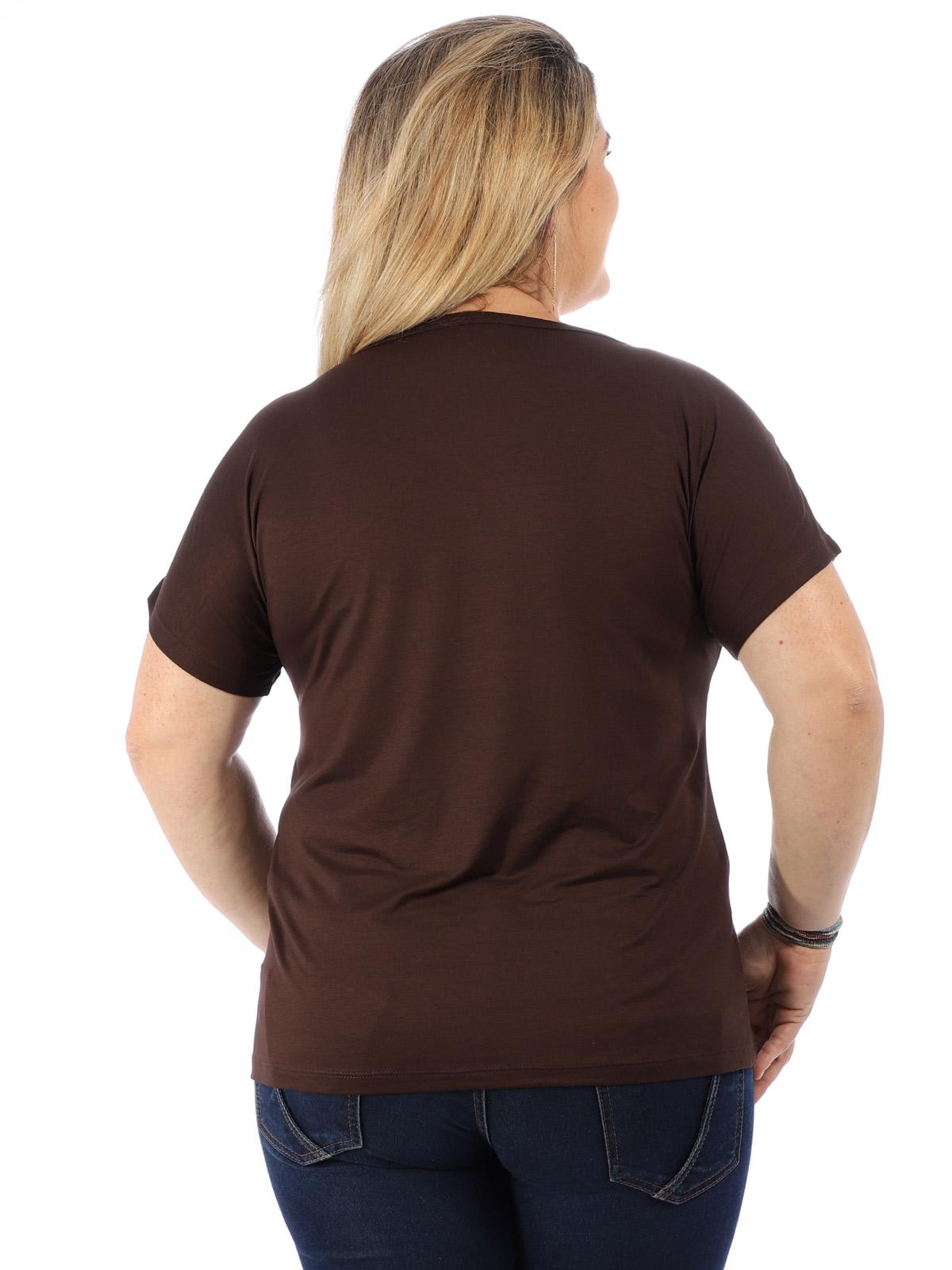 Blusa Plus Size Feminina Decote Canoa Botões Ombro Marrom