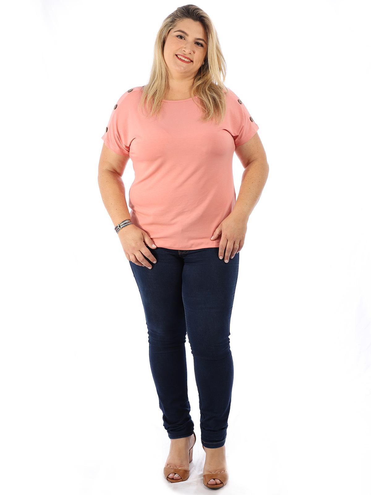 Blusa Plus Size Feminina Decote Canoa Botões Ombro Rosê