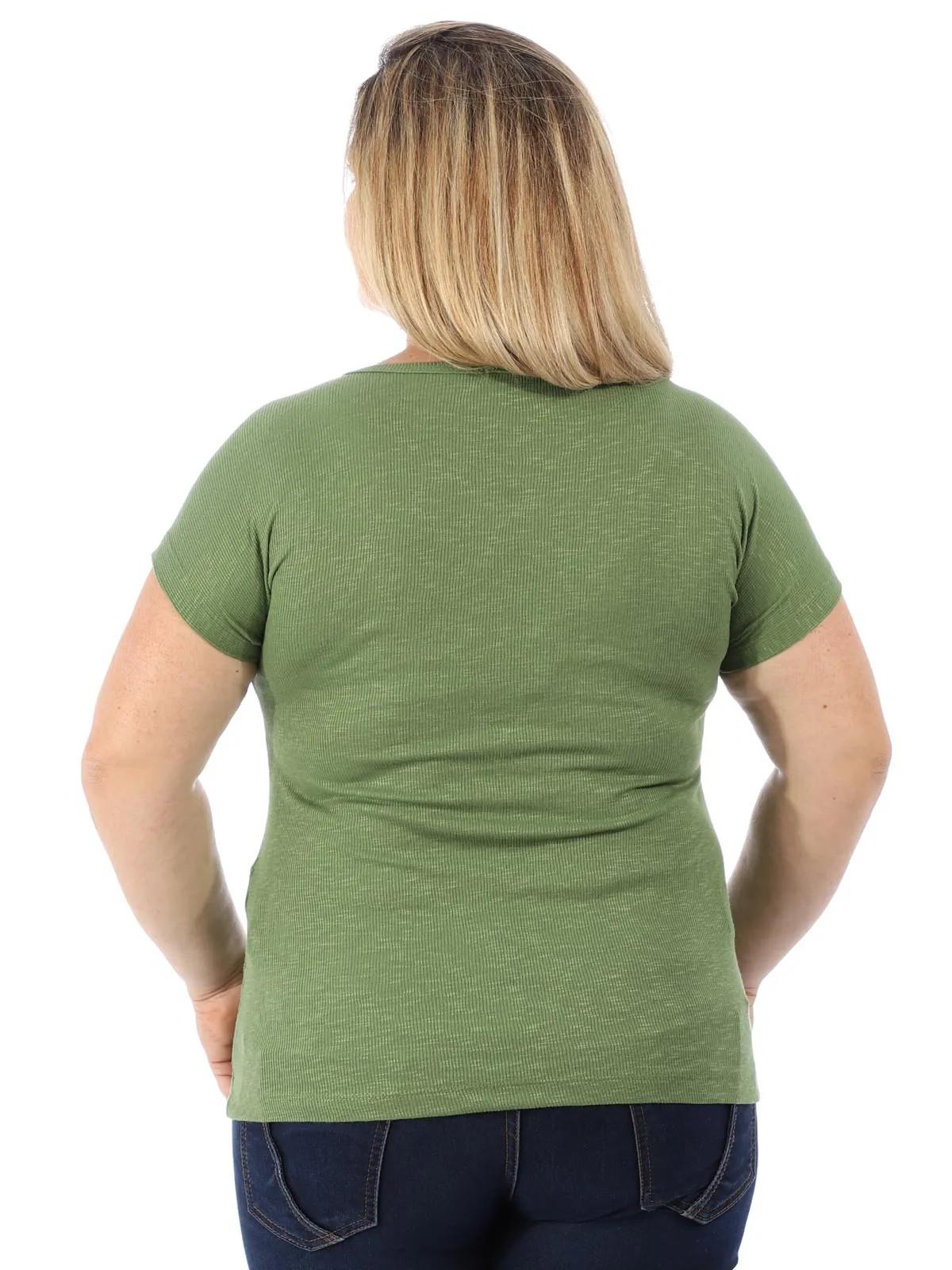 Blusa Plus Size Feminina Decote Canoa Canelada Anistia Verde