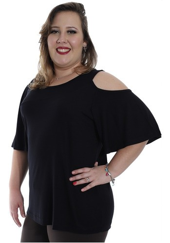 Blusa Plus Size Feminina Decote Redondo Ombro de Fora Preto