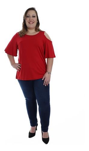 Blusa Plus Size Feminina Decote Redondo Ombro Fora Vermelho