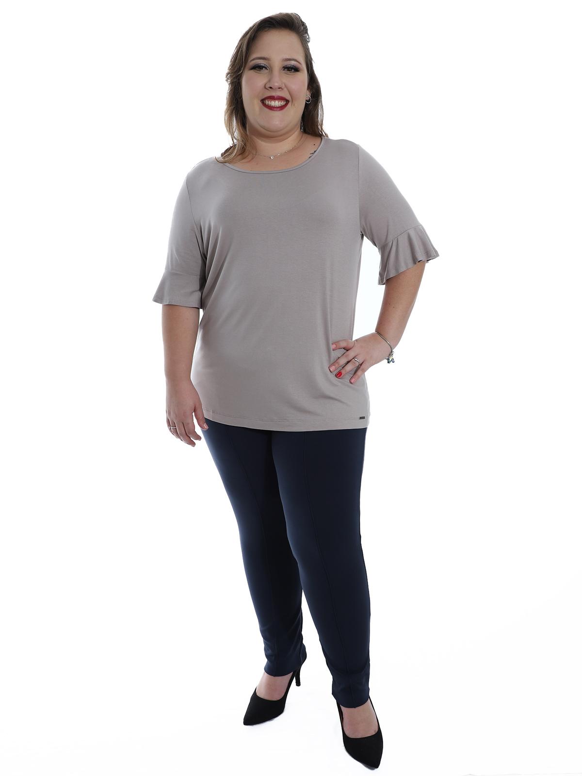 Blusa Plus Size Feminina Decote Redondo Visco Areia